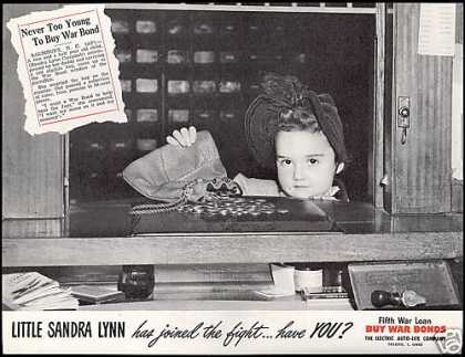 WWII Buy War Bonds Salisbury NC Cute Girl Photo (1944)