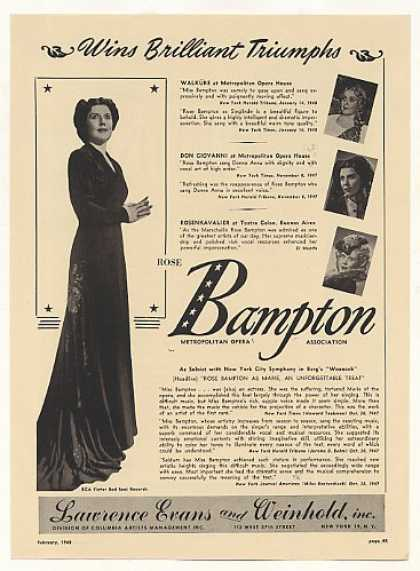 Met Opera Rose Bampton Photo (1948)