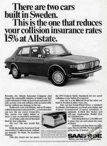 Saab 99e Reduces Collision Insurance Rates (1971)