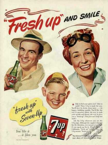 "7up ""Fresh Up"" and Smile Collectible Soda (1943)"