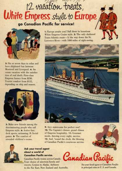 Canadian Pacific's Europe – 12 vacation treats, White Empress style to Europe go Canadian Pacific for service (1952)