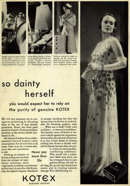 Kotex Company's Sanitary Napkins – So dainty herself (1932)
