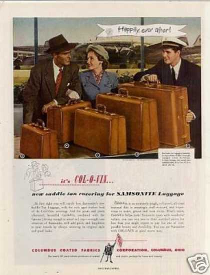 Columbus Coated Fabrics Ad Samsonite Luggage (1949)