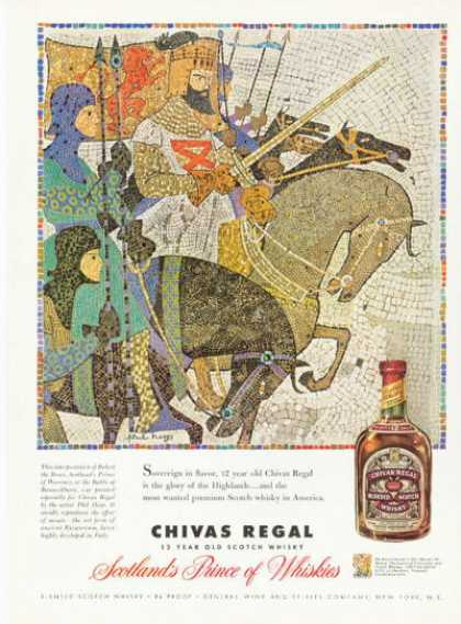 Chivas Regal Scotch Whisky Ad Robert Bruce Art (1958)