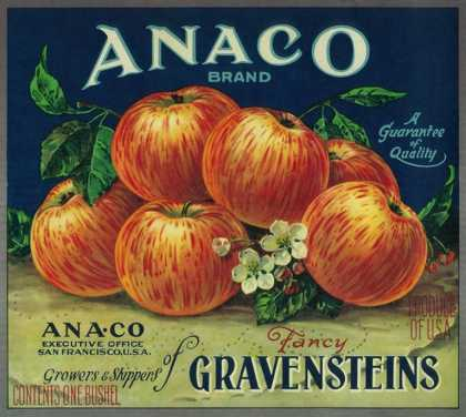 Anaco Apple Crate Label – San Francisco, CA
