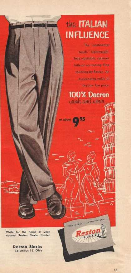Reston Mens Slacks Italian Influence (1957)