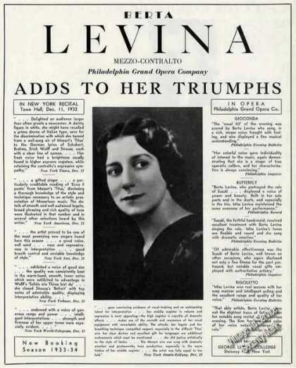Berta Levina Photo Mezzo-contralto Opera Trade (1933)