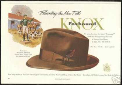 Knox Foxhound Hat Horse & Dog Vintage (1953)