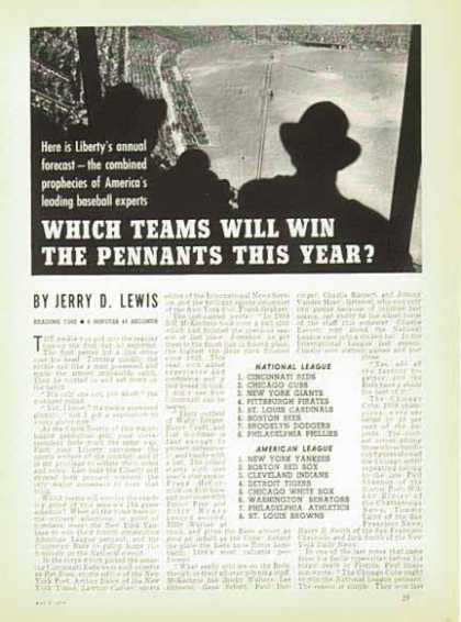 National Baseball Forecast on the Pennants Race Article (1939)