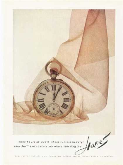 Hanes Sheer Stocking Pocket Watch Decor (1962)