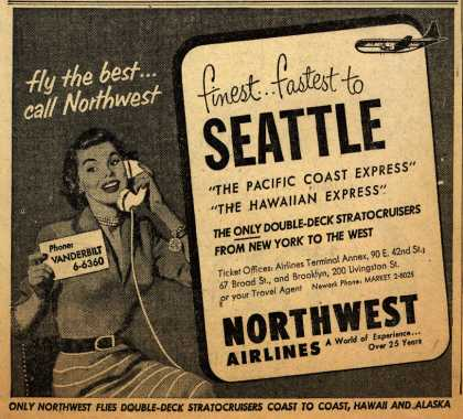 Northwest Airline's Seattle – finest... fastest to SEATTLE (1952)