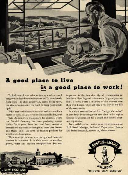 Boston and Maine Railroad's Northern England a good place to live – A good place to live is a good place to work (1946)