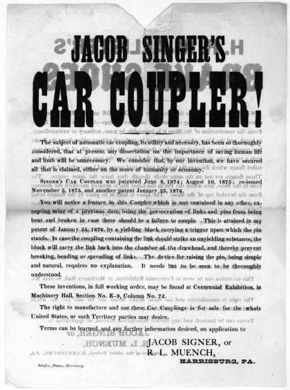 Jacob Singer's car coupler ... Harrisburg, Scheffer, printer 1876. (1876)