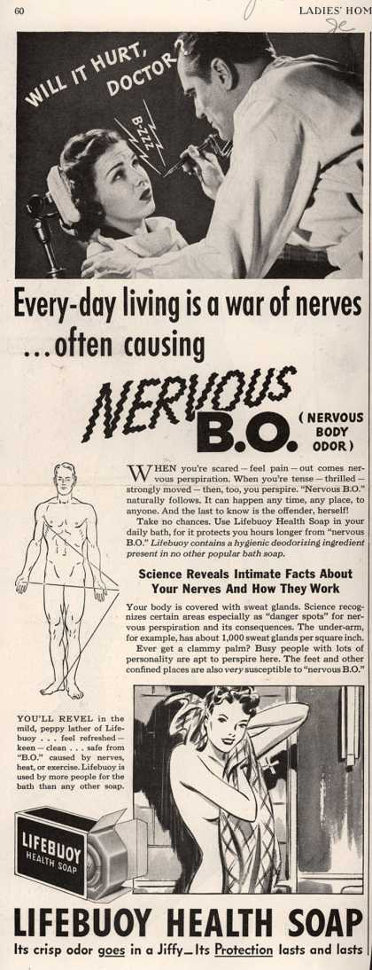 Lever Brothers Company's Lifebuoy Health Soap – Every-day living is a war of nerves... often causing Nervous B.O. (1940)