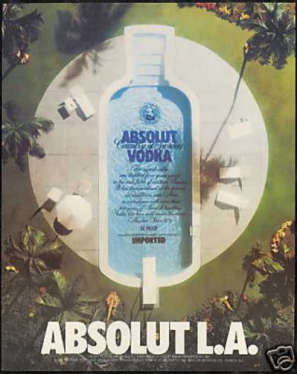 Absolut L.A. LA Vodka Pool Bottle Los Angeles (1989)