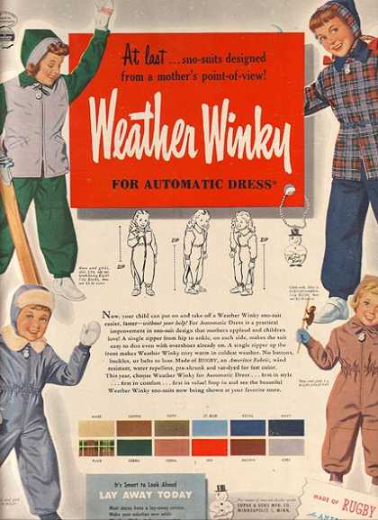 Weather Winky's Outerwear and Sno-Suits (1948)