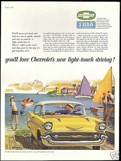Chevrolet Bel Air Sport Coupe Boat Launch Art (1957)