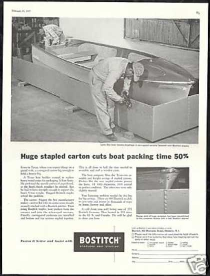 Lone Star Boat Photo Carton Bostitch Staples (1957)