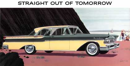 Mercury Montclair four-door sedan in Flo-Toned Moonmist Yellow 			and Regency Gray (1957)