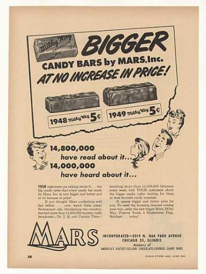 '49 Mars Milky Way Candy Bar Bigger Same Price Trade (1949)