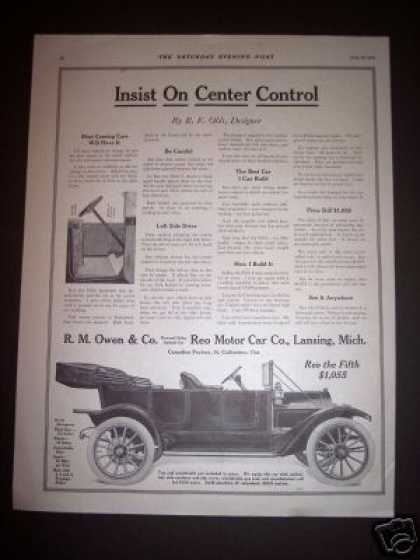 Car Ad Reo Motor Car New Center Control (1912)