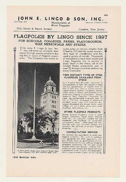 '48 Beverly Hills CA City Hall John E Lingo Flagpole (1948)