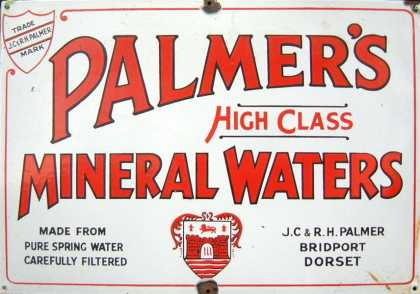 Palmer's Mineral Waters Old Enamel Sign