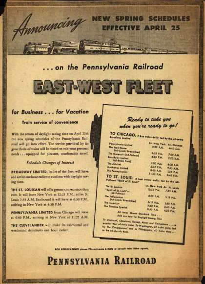 Pennsylvania Railroad – Announcing New Spring Schedules Effective April 25 ...on the Pennsylvania Railroad East-West Fleet (1948)