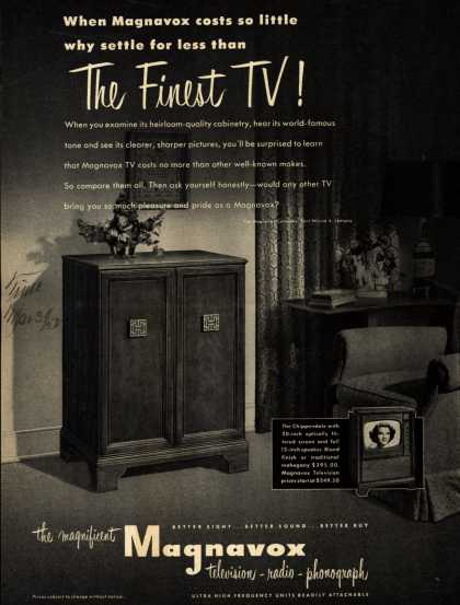 Magnavox Company's Television – When Magnavox costs so little why settle for less than The Finest TV (1952)