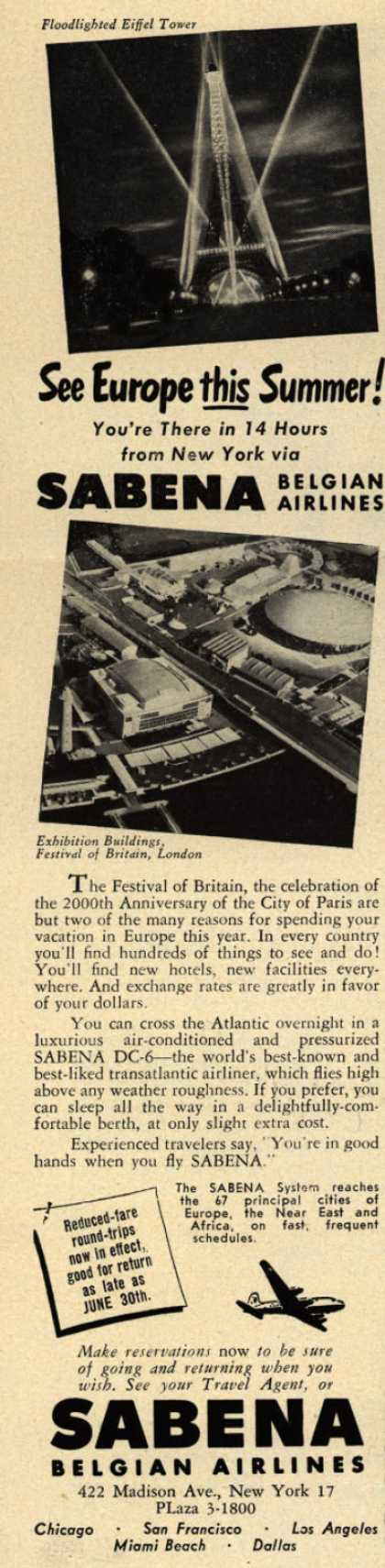 Sabena Belgian Airline's Europe – See Europe this Summer (1951)