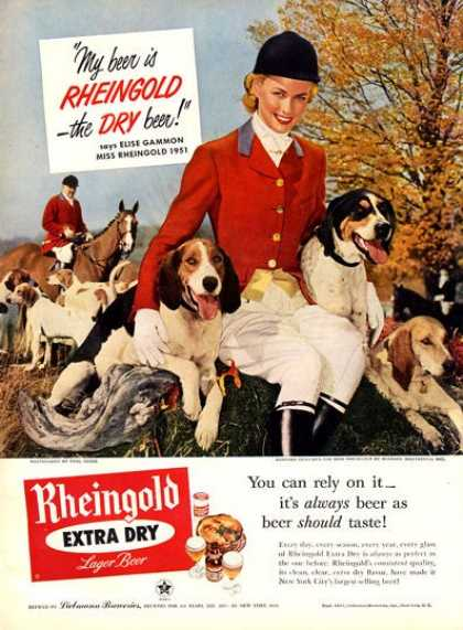 Rheingold Beer Girl Hunting Fox Hounds (1951)