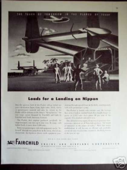 Plane Landing On Nippon Art Fairchild Engine (1945)