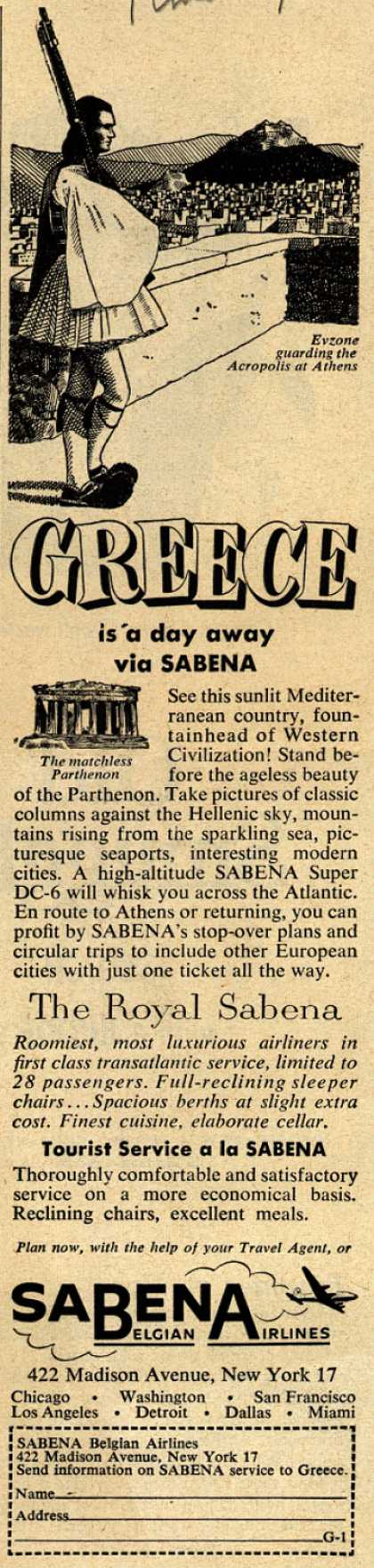 Sabena Belgian Airline's Greece – Greece is a day away (1954)