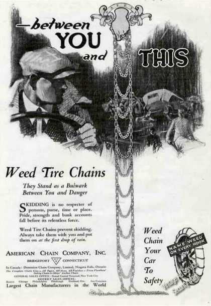 Weed Tire Chains Bridgeport Ct Antique (1921)