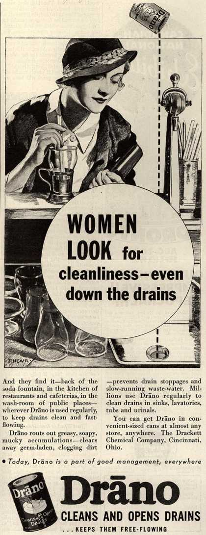 Drackett Chemical Company's Drano – Women Look for cleanliness – even down the drains (1932)