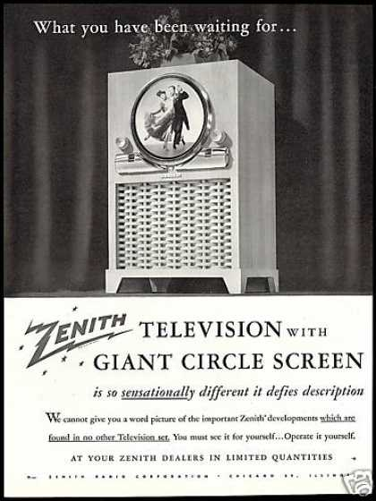 Zenith TV Television Circle Screen Vintage (1949)