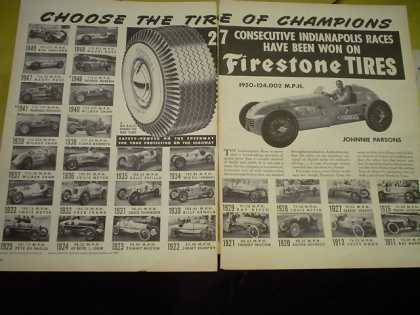Firstone Tires 27 Consecutive Indianapolis Photos of winners since 1911 Johnny Parsons (1950)