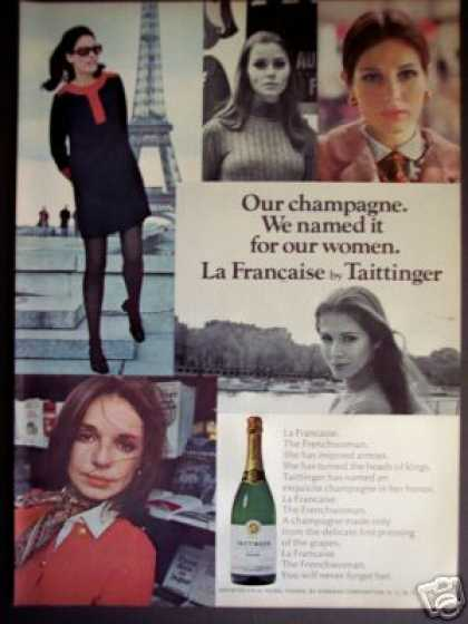 Tattinger La Francaise Champagne Woman Photo (1968)