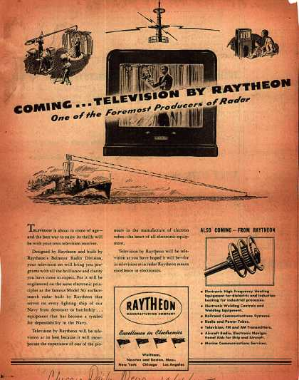 Raytheon Manufacturing Company's Raytheon Television – Coming... Television by Raytheon (1945)