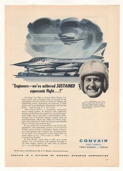 Convair B-58 Jet Chief Test Pilot B A Erickson (1957)
