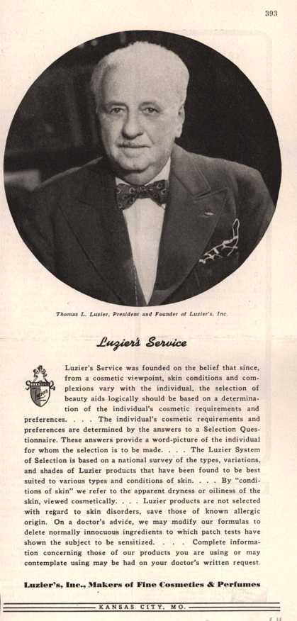 Luzier's Cosmetics and Perfumes – Luzier's Service (1944)