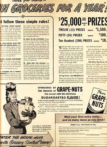 Post's Grape Nuts (1947)