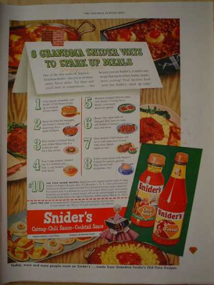 Sniders Catsup and Chili Sauce. Grandma Snider (1950)