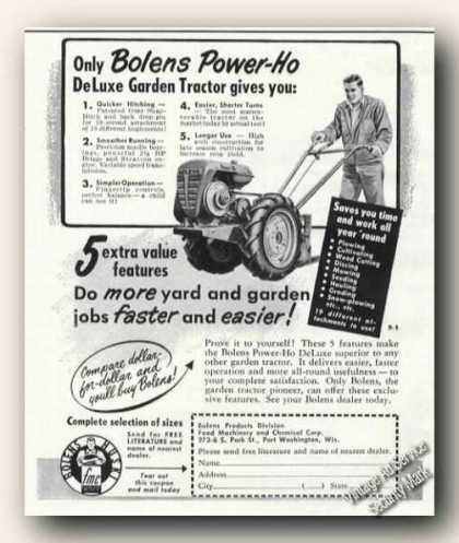 Bolens Power-ho Garden Tractor Farm Advertising (1951)