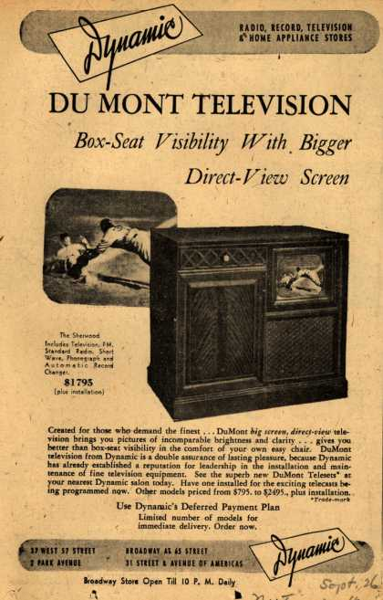 "Allen B. Du Mont Laboratorie's ""Dynamic"" Television – Du Mont Television Box Seat Visibility With Bigger Direct-View Screen (1947)"