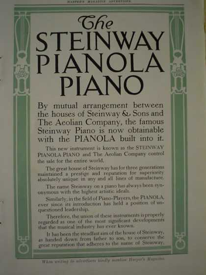 The Steinway Pianola Piano Aeolian Co 4 page foldout (1910)