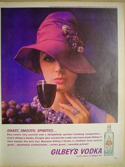 Gilbey's Vodka Smart Smooth Spirited Purple theme (1961)
