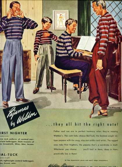 Men & Boys In Pajamas By Weldon Ad – Gay Interest (1946)