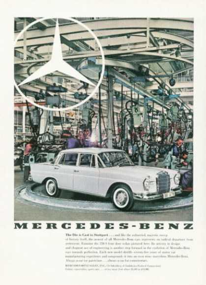 Mercedes Benz 220 S Ad Stuttgart Assembly Line (1959)