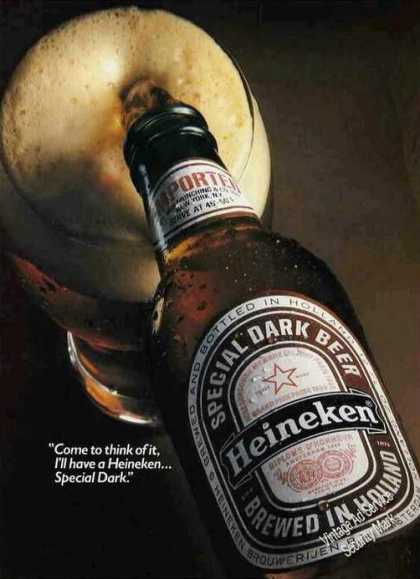 Heineken Special Dark Beer Brewed In Holland (1983)